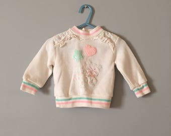 PASTEL KITTEN sweater   baby girl sweater   80s cat and balloons pastel knitted pullover