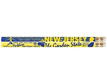 36 New Jersey State Quick Facts #2 Pencils Soft Effective Eraser, Non Toxic, Latex Free  Made in the USA Express PencilsITM