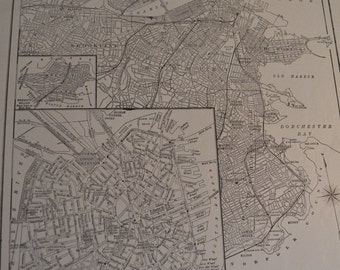 1914 City Map Boston Massachusetts - Vintage Antique Map Great for Framing 100 Years Old