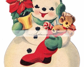 Instant Art Printable Download - Christmas Snowman Vintage Card - Paper Crafts Scrapbooking Altered Art - Vintage Christmas Card Snowman