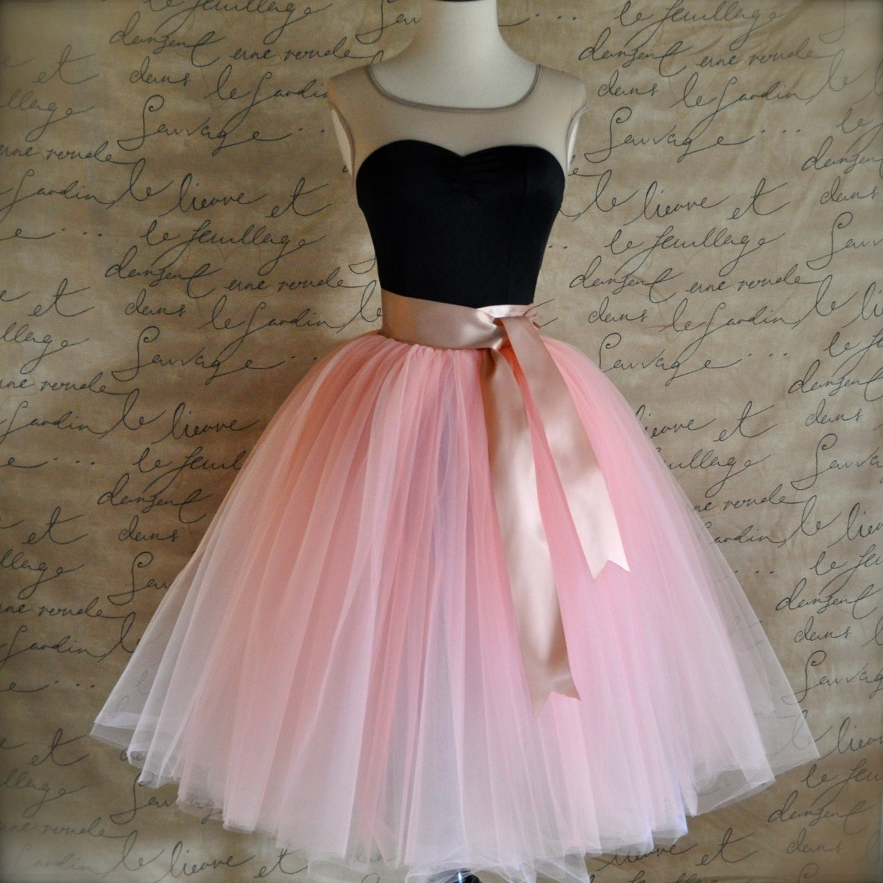 Vintage pink lined tulle skirt with satin ribbon sashed adult