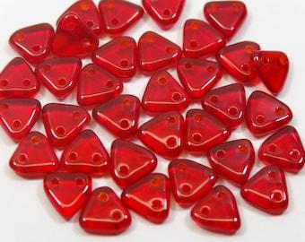 2 Hole 6 mm CzechMates Triangle Bead  Ruby Transparent  10 Gram