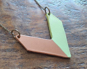 Chevron Leather Pendant Light Lime Hand Painted Custom Hand Cut Leather by MyBella