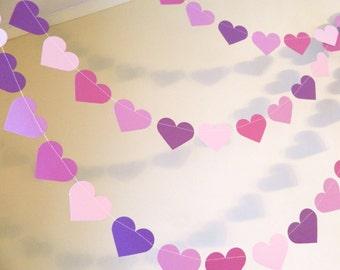Purple bridal shower decor - Purple Heart Garland, Wedding garland, Purple Heart birthday decor , Your color and size choice