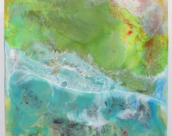 Original Encaustic painting, abstract painting, blue green painting, greenery