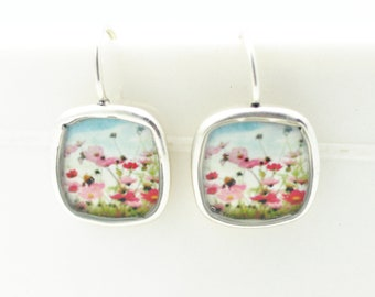 Flower Field Earrings | Vintage Flower Design | Silver Square Earrings | Lightweight Jewelry | Nature Inspired | Nature Jewelry | Pink