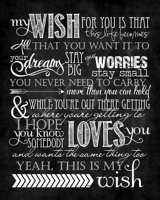 Chalkboard Art Song My Wish