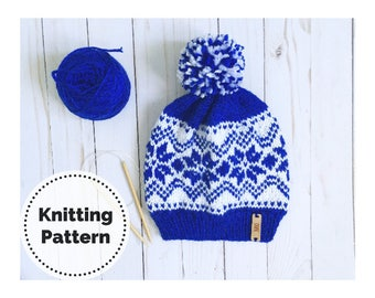 Knit Hat Pattern // Knitting Pattern // Knit Beanie // Snow Flakes // Winter hat // Winter Knits // Snowflake hat
