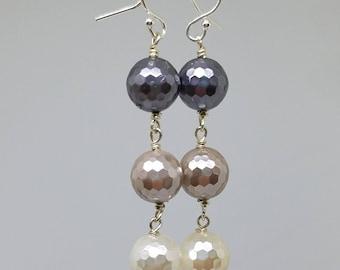 Faceted Shell Pearl Dangle Earrings