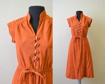 1970s Rusty Orange Velour Dress