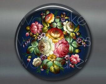 "3.5"" floral fridge magnet, russian trays flower decor, kitchen decor, large magnet, decorative magnet, stocking stuffer MA-325"