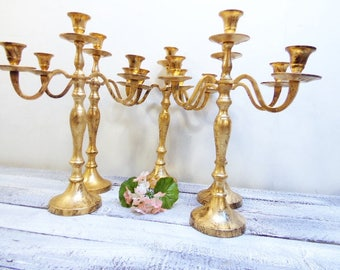 12 Wedding Candelabras 3 arm Shabby Candle Holder Antique Gold Distressed