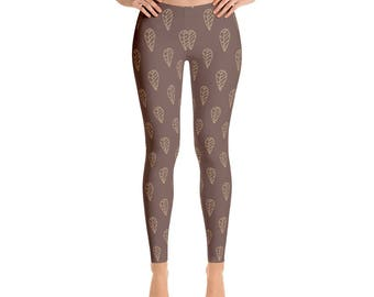 Leggings, Ankle Length Leggings, Capri Leggings, Yoga Pants, Brown Leaf Design Leggings, Women's Sizes, XSmall, Small, Med, Large, XLarge