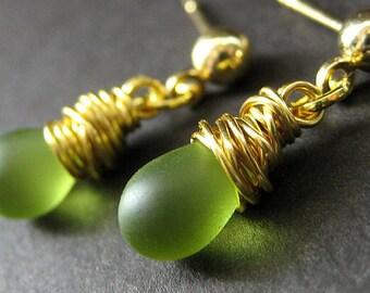Green Earrings: Wire Wrapped Earrings. Gold Stud Dangle Earrings. Handmade Earrings.