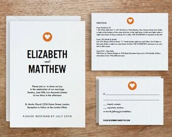 Printable Wedding Invitation Template | INSTANT DOWNLOAD | Simple Heart | DIY | Editable Adobe pdf | Red Heart Response - Info Card Set