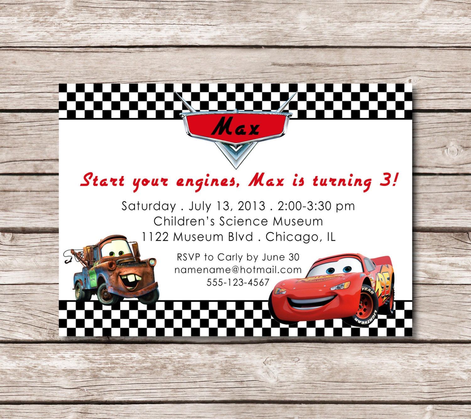 cars  lightning mcqueen theme birthday invitation digital