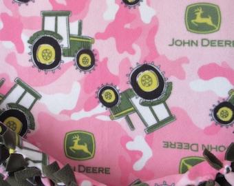 John Deere Fleece Tractor Camo (Pink) ~ No Sew Hand Tied Licensed Fleece Blanket