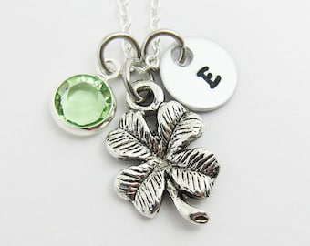 Four Leaf Clover Necklace - Lucky charm necklace, Personalized Initial Name, Birthstone