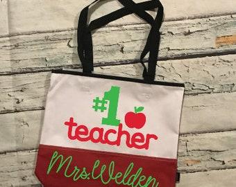 Number 1 Teacher Bag; Teacher Bag; Teacher tote; Teacher appreciation Gift; Teacher Gift; Personalized Teacher Gift; Teacher Christmas Gift