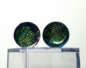 Dragon Scale Dichroic Plugs Green Blue Hue 0g to 1.5""