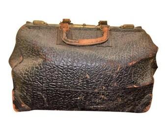 Rare Antique Old Leather Doctor's Dr. Medical Bag