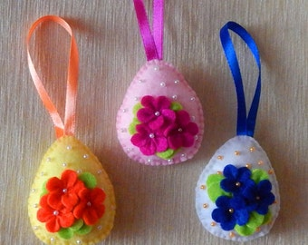 Set of 3 egg ornaments. Embroidered felt Easter ornaments. Easter tree decor. Spring ornaments. Spring decorations. Easter egg ornaments