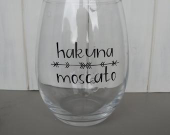 Hakuna Moscato Stemless wine glass