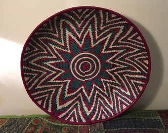 Vintage African Coil Basket/Tray/Plate/Bowl|Tribal Decor|African Decor|Wall Decor|Kitchen Decor