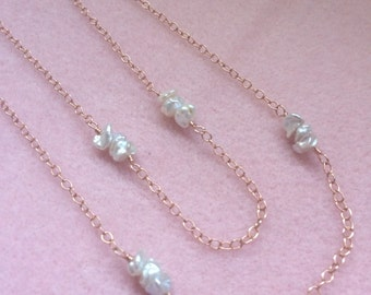 Rose Gold Filled and Freshwater Keshi Pearl Necklace