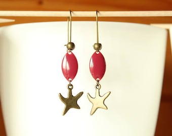 Bronze earrings raspberry and pink sequin starfish