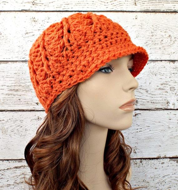 Crochet Hat Womens Hat Orange Newsboy Hat - Pippa Swirl Crochet Newsboy Hat Pumpkin Orange Crochet Hat Womens Accessories