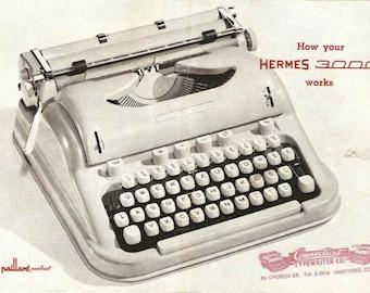 Hermes 3000 Typewriter Users Manual, Printed Copy of Hermes 3000 Typewriter Instruction Booklet, Hermes 3000 Typewriter User Guide,