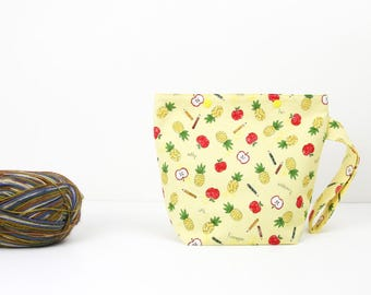 Apple pineapple knitting project bag, one skein sock knitting bag, yellow craft storage with snaps