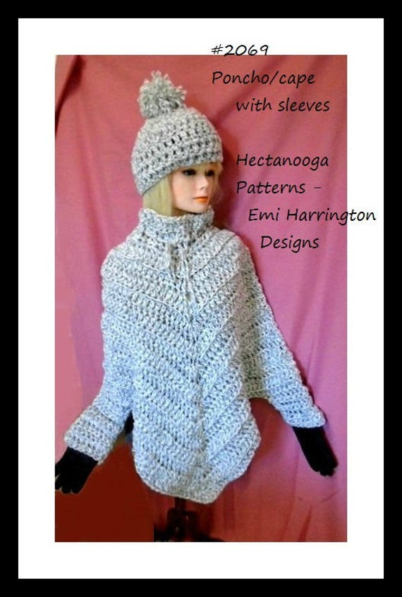 Crochet Pattern Poncho With Sleeves Cape With Sleeves Teens