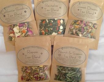 5 Tea Blends Sampler Pack // Homegrown // Wildharvested // Organic // Gluten-Free