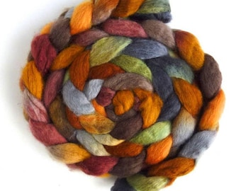Noon Train - BFL Wool Roving - Hand Painted Spinning Fiber - SALE