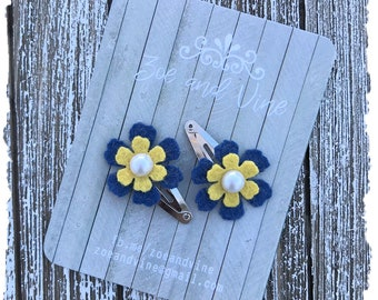 READY TO SHIP, Maize Blue Wool Felt Flower Clip Set, Baby Clips, Infant Girls Adult Mini Snap Clips