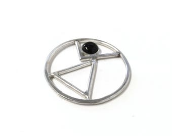 Sterling Silver Black Onyx Abstract Pendant