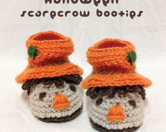 Crochet Pattern Halloween Baby Booties Slouch Scarecrow Baby Booties Baby Boots Preemie Newborn Socks Shoes Slippers Crochet Pattern