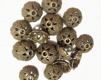 50 pcs of Antiqued brass flower bead caps 8mm, bronze flower bead caps, antique brass beadcaps