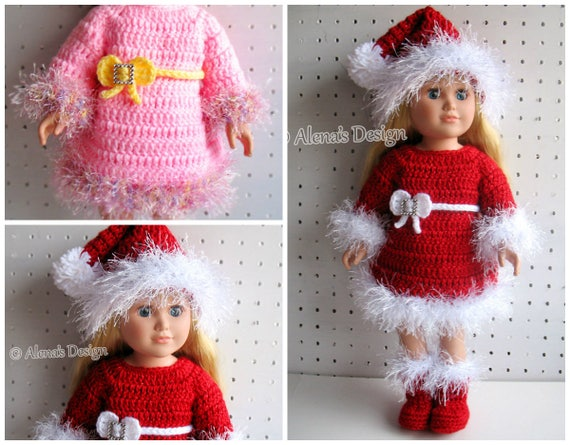 Crochet Pattern 3 PC Set for 18 inch Doll Crochet Patterns Christmas Doll Outfit Santa Hat American Doll My Life As Clothing Gift for Girl