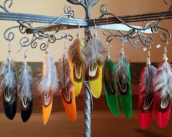 Handmade Natural Feather Earrings~Feathers in Black~Green~Red~Orange~Yellow~Real Feather Earrings~Earrings For Her or Him~Boho Earrings