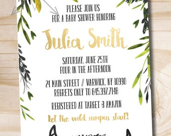 Where the Wild Things Are Baby Shower Invitation // Let the Wild Rumpus Start // Baby Shower // Book Theme - PDF or Printed Invitation