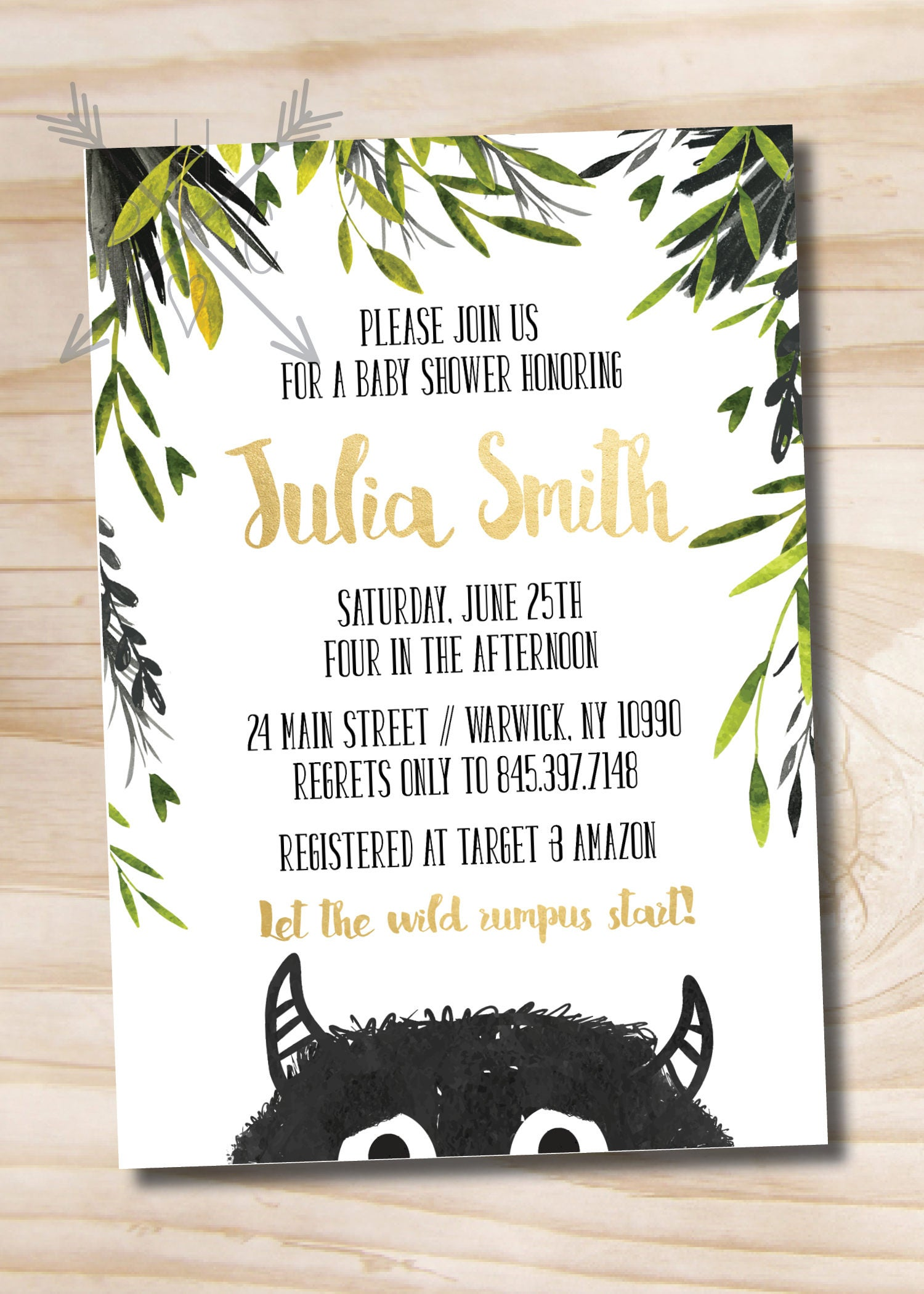 Where the Wild Things Are Baby Shower Invitation // Let the