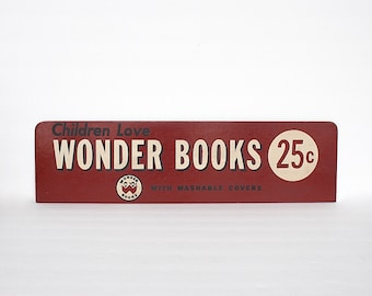Vintage Advertising Sign - Vintage Bookstore Sign - Old Store Sign - Wonder Books - Book Lover Gift - Childrens Room Decor - Library Decor