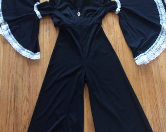 1970s RARE jumpsuit with gigantic bell sleeves sz m/l