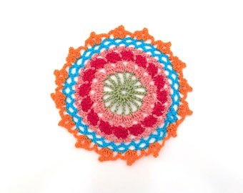 Small crochet Mandala, Mandala Rainbow multicolor doily, for use in flat or hang. 100% cotton Made in Italy.