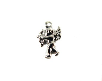 Tiny Rhodium Plated Baby Cherub Charms - (24X) (V425)