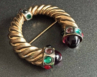 Jewel Tone Brooch With Bullet Glass Purple Green and Red on Gold Tone Horseshoe Style, Vintage Jewelry