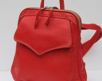 LEATHER BACKPACK  Red Orange Berry Burst by Elizabeth Z Mow